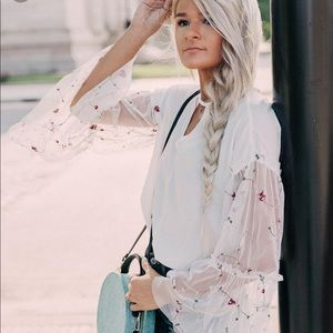 NWT Cut-out Floral Embroidered top.
